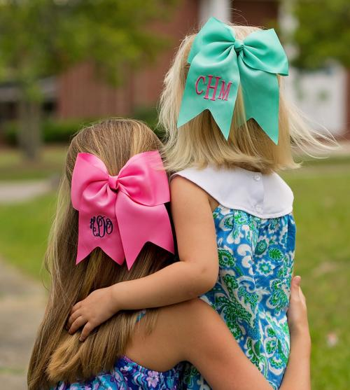 Monogrammed Girl's Grosgrain Hair Bow Assorted Colors  Apparel & Accessories > Clothing Accessories > Hair Accessories > Hair Pins & Clips