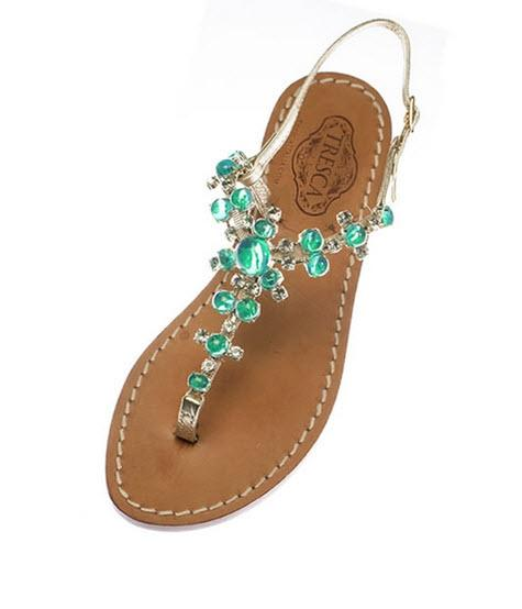 Gemma Gold Sandals With Aqua Stones  Apparel & Accessories > Shoes > Sandals