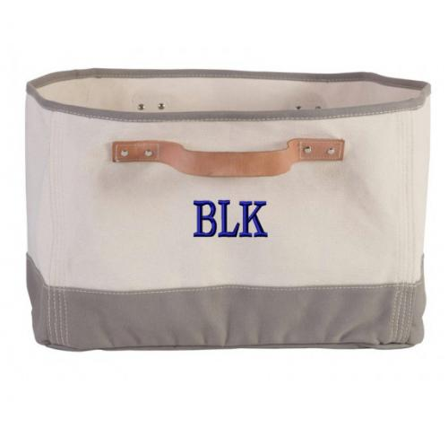 Monogrammed Gray Canvas Organizing Tub with Leather Handles  Home & Garden > Household Supplies > Storage & Organization > Household Storage Containers