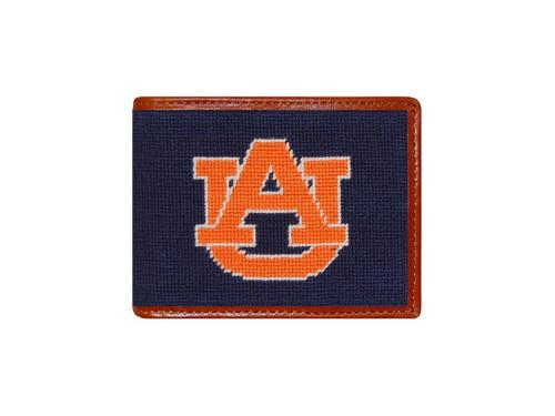 Smathers and Branson Auburn Needlepoint Bi-Fold Leather Wallet - Monogrammable  Apparel & Accessories > Clothing Accessories > Wallets & Money Clips
