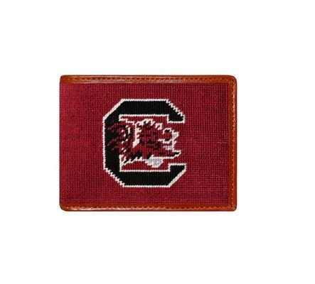 Smathers and Branson USC Gamecock Needlepoint Bi-Fold Leather Wallet - Monogrammable  Apparel & Accessories > Clothing Accessories > Wallets & Money Clips