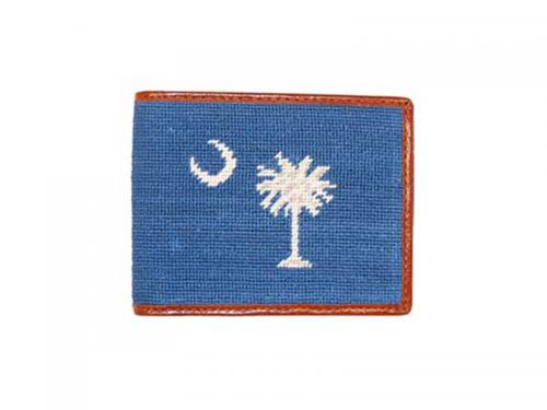 Smathers and Branson South Carolina Flag Needlepoint Bi-Fold Leather Wallet - Monogrammable  Apparel & Accessories > Clothing Accessories > Wallets & Money Clips