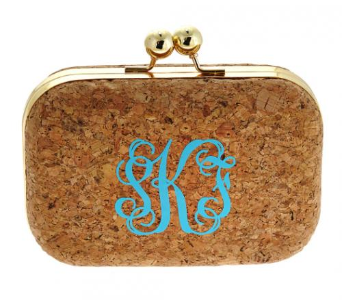 Monogrammed Kylie Cork Clutch  Apparel & Accessories > Handbags > Clutches & Special Occasion Bags
