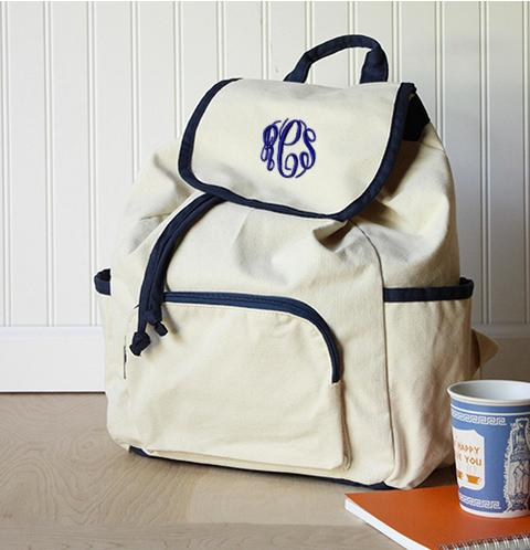 Monogrammed Canvas Backpack   Apparel & Accessories > Handbags