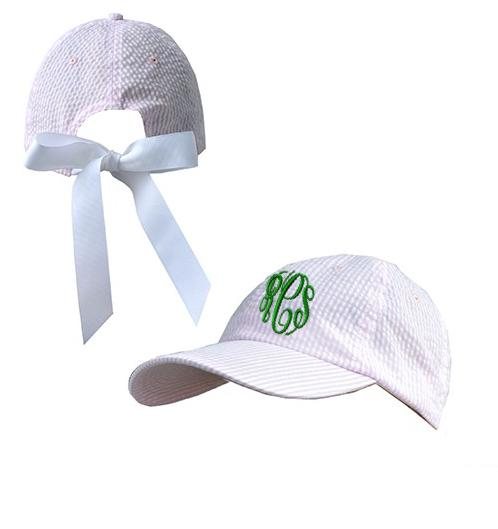 Monogrammed Pink Seersucker Hat With Bow  Apparel & Accessories > Clothing Accessories > Hats > Caps