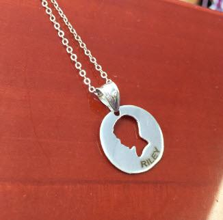 Personalized Boy Silhouette Pendant   Apparel & Accessories > Jewelry > Necklaces