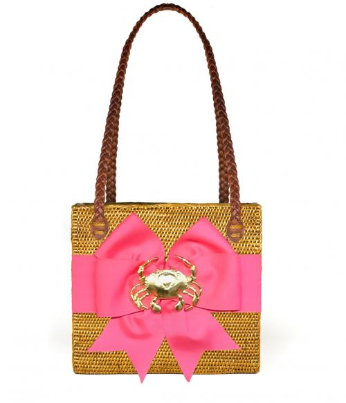 Shannon Rectangular Basket with Fluffy Bow and Adornment  Apparel & Accessories > Handbags > Shoulder Bags
