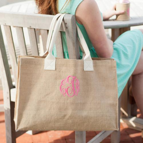 Monogrammed Burlap Tote Bag  Apparel & Accessories > Handbags > Tote Handbags