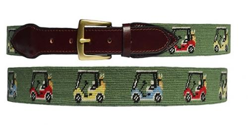 Needlepoint Belt in Golf Cart Pattern  Apparel & Accessories > Clothing Accessories > Belts