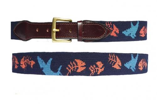 Shark and Fishbone Needlepoint Belt  Apparel & Accessories > Clothing Accessories > Belts