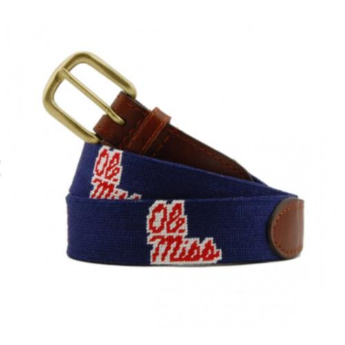 Smathers and Branson Ole Miss Navy Needlepoint Belt  Apparel & Accessories > Clothing Accessories > Belts