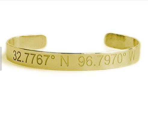 Longitude and Latitude Cuff Bracelet  Apparel & Accessories > Jewelry > Bracelets