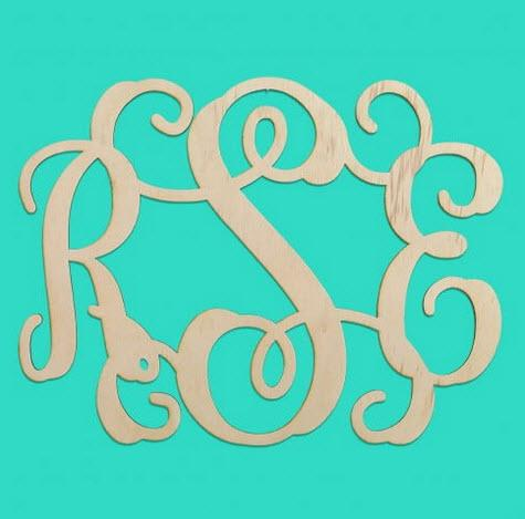 Interlocking Vine Wood Monogram Personalize to Your Decor  Home & Garden > Decor > Plaques