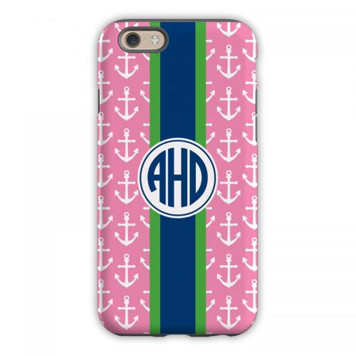 Monogrammed iPhone Case Anchors Ribbon    Electronics > Communications > Telephony > Mobile Phone Accessories > Mobile Phone Cases