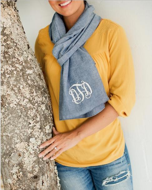 ON SALE! Monogrammed Scarf Cotton Chambray   Apparel & Accessories > Clothing Accessories > Scarves & Shawls