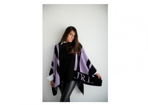 Butterscotch Blankets Ladies Personalized Striped Knit Poncho  Apparel & Accessories > Clothing Accessories > Scarves & Shawls