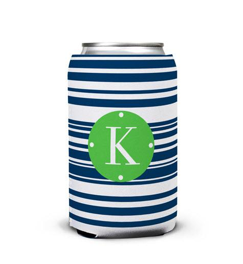 Personalized Can Koozie In Block Island Stripe  Home & Garden > Kitchen & Dining > Food & Beverage Carriers > Drink Sleeves > Can & Bottle Sleeves