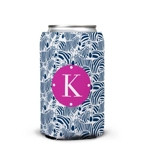 Monogrammed Zebra Patterned Can Koozie  Home & Garden > Kitchen & Dining > Food & Beverage Carriers > Drink Sleeves > Can & Bottle Sleeves