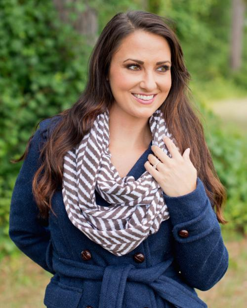 ON SALE! Monogrammed Taupe Herringbone Infinity Scarf  Apparel & Accessories > Clothing Accessories > Scarves & Shawls