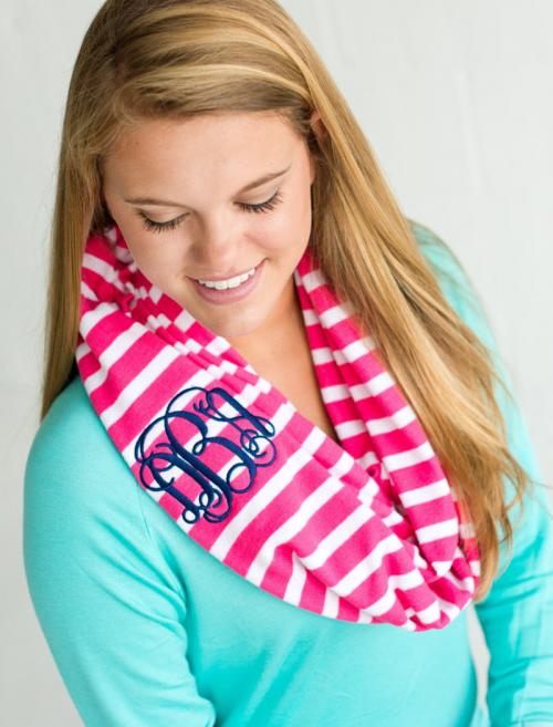 Monogrammed Infinity Scarf in Hot Pink Stripe  Apparel & Accessories > Clothing Accessories > Scarves & Shawls