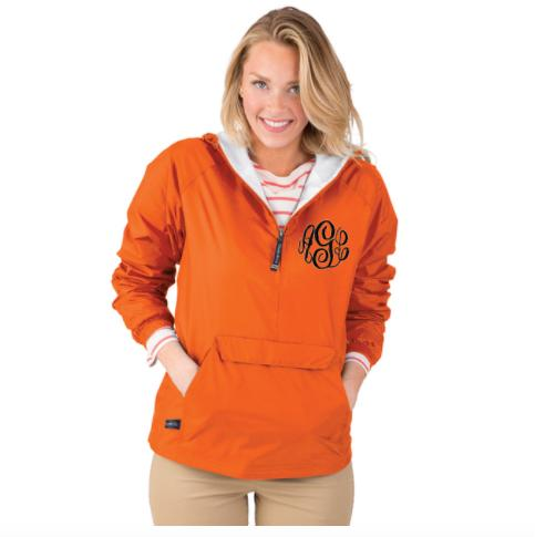 Monogrammed Adult Rain Jacket Pullover Lined With Fleece  Apparel & Accessories > Clothing > Outerwear > Rain Gear > Raincoats