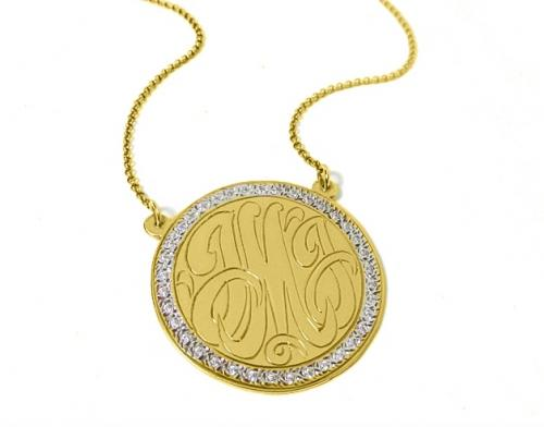Engraved Monogrammed Disc with CZ Border  Apparel & Accessories > Jewelry > Necklaces
