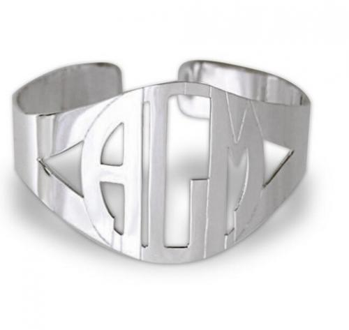 Monogrammed Block Cuff Bracelet In Sterling Silver  Apparel & Accessories > Jewelry > Bracelets