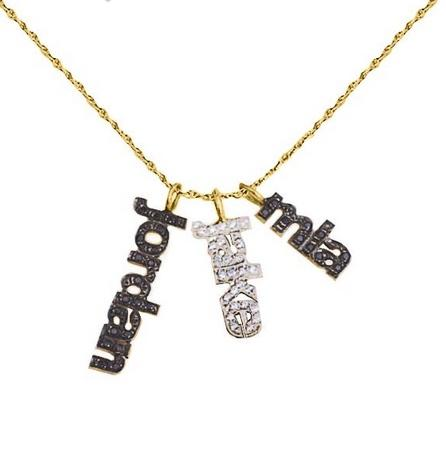 Threee Mini Vertical Block Names with Diamonds  Apparel & Accessories > Jewelry > Precious Stones > Diamonds