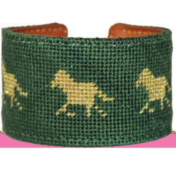 Equestrian Needlepoint Cuff Equestrian Needlepoint Cuff Apparel & Accessories > Jewelry > Bracelets