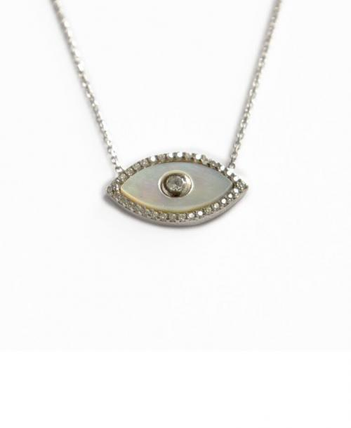 Evil Eye Necklace with Mother of Pearl and 20 CZ's   Apparel & Accessories > Jewelry > Necklaces