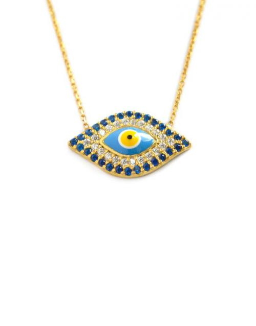 Evil Eye Necklace with 30 Blue CZs   Apparel & Accessories > Jewelry > Necklaces