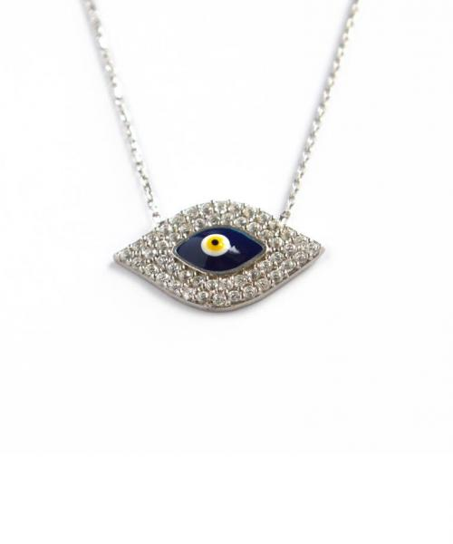 Evil Eye Necklace with 55 CZs, Blue, White and Yellow Enamel  Apparel & Accessories > Jewelry > Necklaces