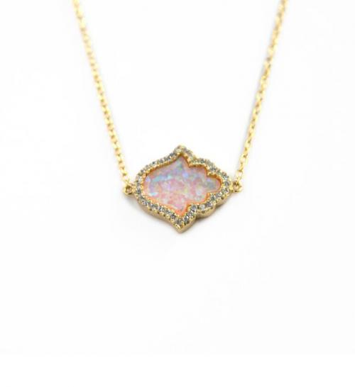 Hamsa Necklace with 40 CZs and Pink Mother of Pearl   Apparel & Accessories > Jewelry > Necklaces