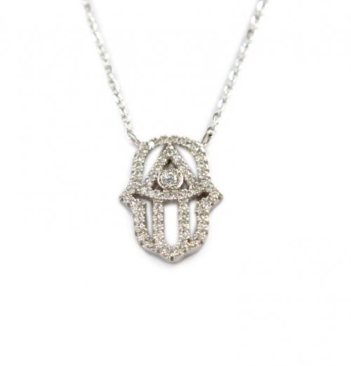 Hamsa Necklace with 60 CZs All Around and a 5MM Center Stone  Apparel & Accessories > Jewelry > Necklaces