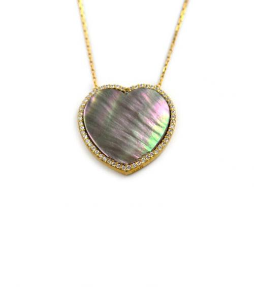 Mother of Pearl Heart Necklace  CZs    Apparel & Accessories > Jewelry > Necklaces