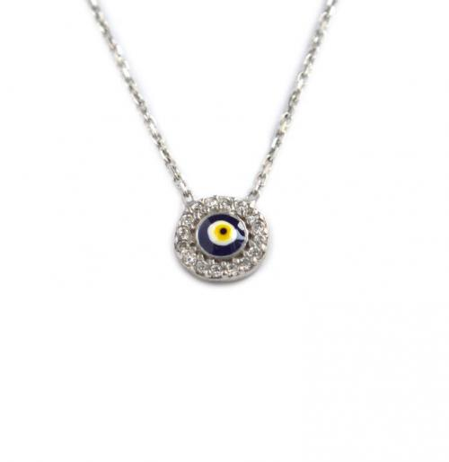 Mini Evil Eye Necklace with 18 CZs All Around and Blue, White and Yellow Enamel  Apparel & Accessories > Jewelry > Necklaces