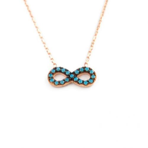 Mini 10MM Infinity Necklace with 20 Blue CZs   Apparel & Accessories > Jewelry > Necklaces