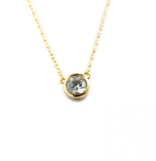 5MM Single CZ Set In Bezel  Apparel & Accessories > Jewelry > Necklaces
