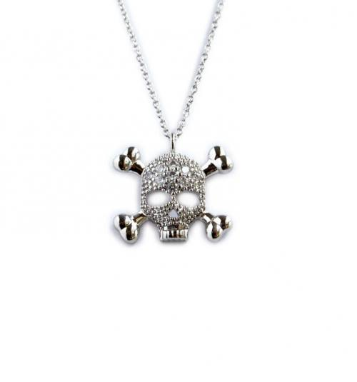 15MM Skeleton Pendent with 10 2 Point CZs  Apparel & Accessories > Jewelry > Necklaces