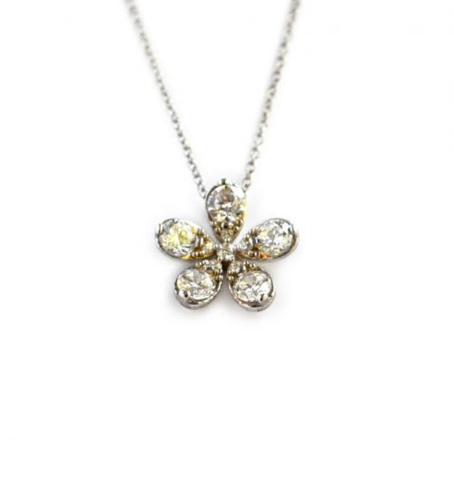 Flower Necklace with Oval CZs  Apparel & Accessories > Jewelry > Necklaces