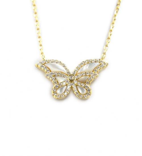 Butterfly Necklace With Mother of Pearl and CZ  Apparel & Accessories > Jewelry > Necklaces