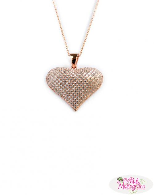 Puffy Heart Necklace CZs   Apparel & Accessories > Jewelry > Necklaces
