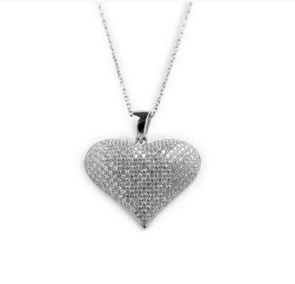 Sterling Silver Heart Necklace with CZs   Apparel & Accessories > Jewelry > Necklaces