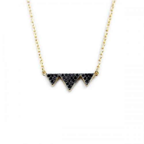 Triple Triangle Necklace with 21 Black CZs   Apparel & Accessories > Jewelry > Necklaces