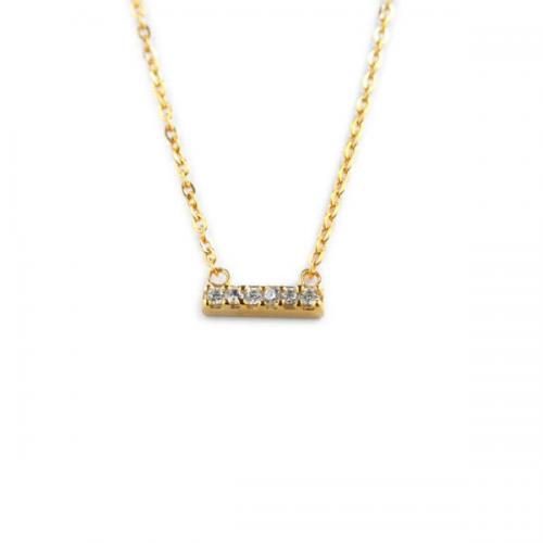 Mini Gold Bar Necklace with 6 CZs  Apparel & Accessories > Jewelry > Necklaces