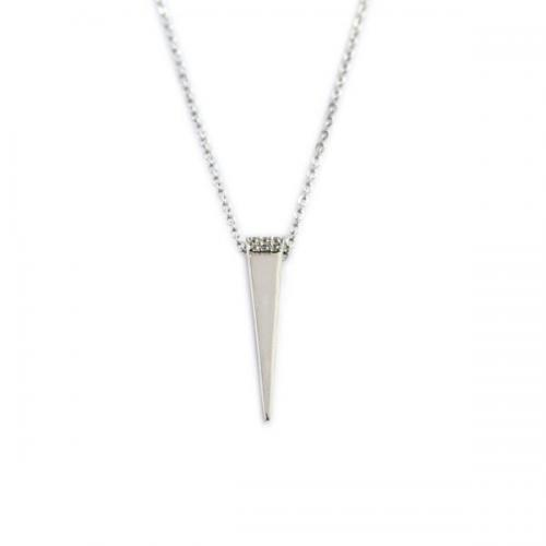 Sterling Silver Modern Necklace Embellished With CZ  Apparel & Accessories > Jewelry > Necklaces