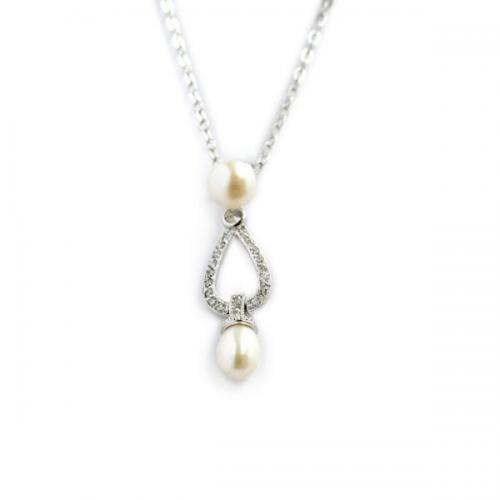 Silver and Pearl Drop Necklace With CZs  Apparel & Accessories > Jewelry > Necklaces