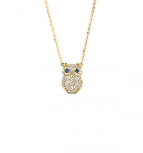 Owl Necklace with 65 CZs All Over and 2 Blue CZs As Eyes   Apparel & Accessories > Jewelry > Necklaces