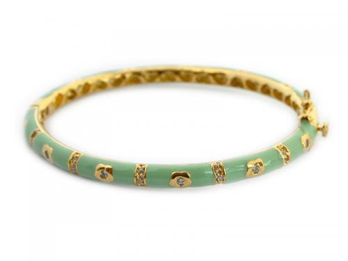 Kids Green Enamel Bangle with Gold Plated Flowers  Kids Green Enamel Bangle  Apparel & Accessories > Jewelry > Bracelets