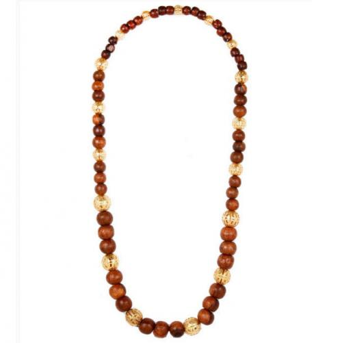 Lisi Lerch Nina Brown Wood Beaded Necklace Nina Wood Beaded Necklace Apparel & Accessories > Jewelry > Necklaces